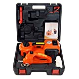 MarchInn 12V DC 3.5T(7700lb) Electric Hydraulic Floor Jack and Tire Inflator Pump and LED Flashlight 3 in 1 Set with Electric Impact Wrench Car Repair Tool Kit