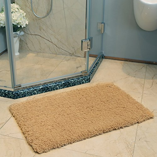 KMAT  Bath Mat Non-slip 20 x 32 inch Microfiber Bathroom Shower Rugs Soft Khaki Washable Absorbent Doormat Indoor Throw Rug for Bedroom Living Room