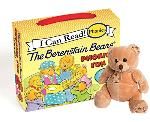 Story Book Set For Children Toddlers in a Box: 12-Book Phonics Box Sets Berenstain Bears with one Mini Bear Plush Toy Set (vary in color). - Baby You Can Read