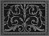 """Decorative Vent Cover, Grille, made of Urethane Resin in Louis XIV, French style fits over a 10"""" x 14"""", Total size, 12"""" by 16"""", for wall & ceiling installation only. (not for floors) (Black)"""