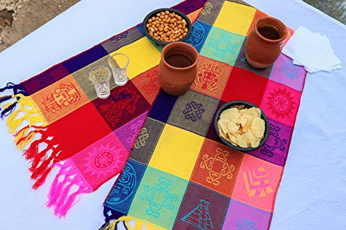 (Mexican Table Runner – Bohemian Table Runner – Boho Rainbow Aztec Runners – Serape Colourful Striped Cotton Runner for Mexican Fiesta Decorations and for Wedding Décor Pink Red Yellow)