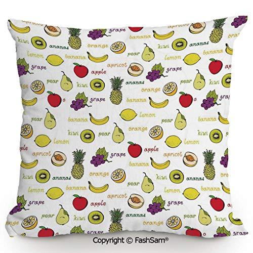 Sugar Plum Bench Seat - FashSam Polyester Throw Pillow Cushion Kiwi Banana Plums Lemon Orange Pear Grape Apricot Kitchen Food Print Decorative for Sofa Bedroom Car Decorate(16