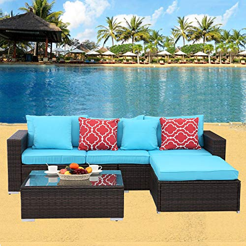 HTTH 4 Pcs Outdoor Patio Furniture Sets Rattan Soft Wicker Set,Outdoor Indoor Use Backyard Porch Garden Poolside Balcony Furniture Set with 2 Pillows and CoffeeTable (4pcs-Mix-TRQ)