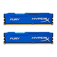 HyperX HX316C10FK2 / 8 Fury, Azul, RAM, DDR3, 8GB (Kit 2x 4GB), 1600MHz, CL10, UDIMM de 240 pines