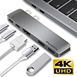 USB C Hub, Purefix Fastest 40Gb/s Type-C 5 in 1 Multi-Port Hub Adapter for MacBook Pro 13' / 15' with Thunderbolt 3, Pass-Through Charging, 2 USB 3.1 Ports and 4K HDMI Out (Space Grey)