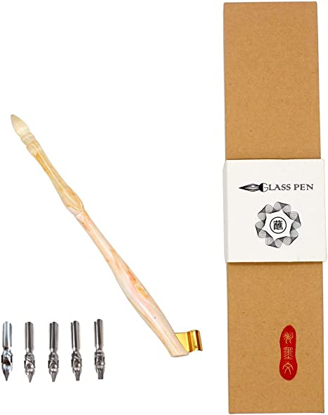 Wood English Calligraphy Pen Script Oblique Copperplate Dip Pen Holder 5 Nib