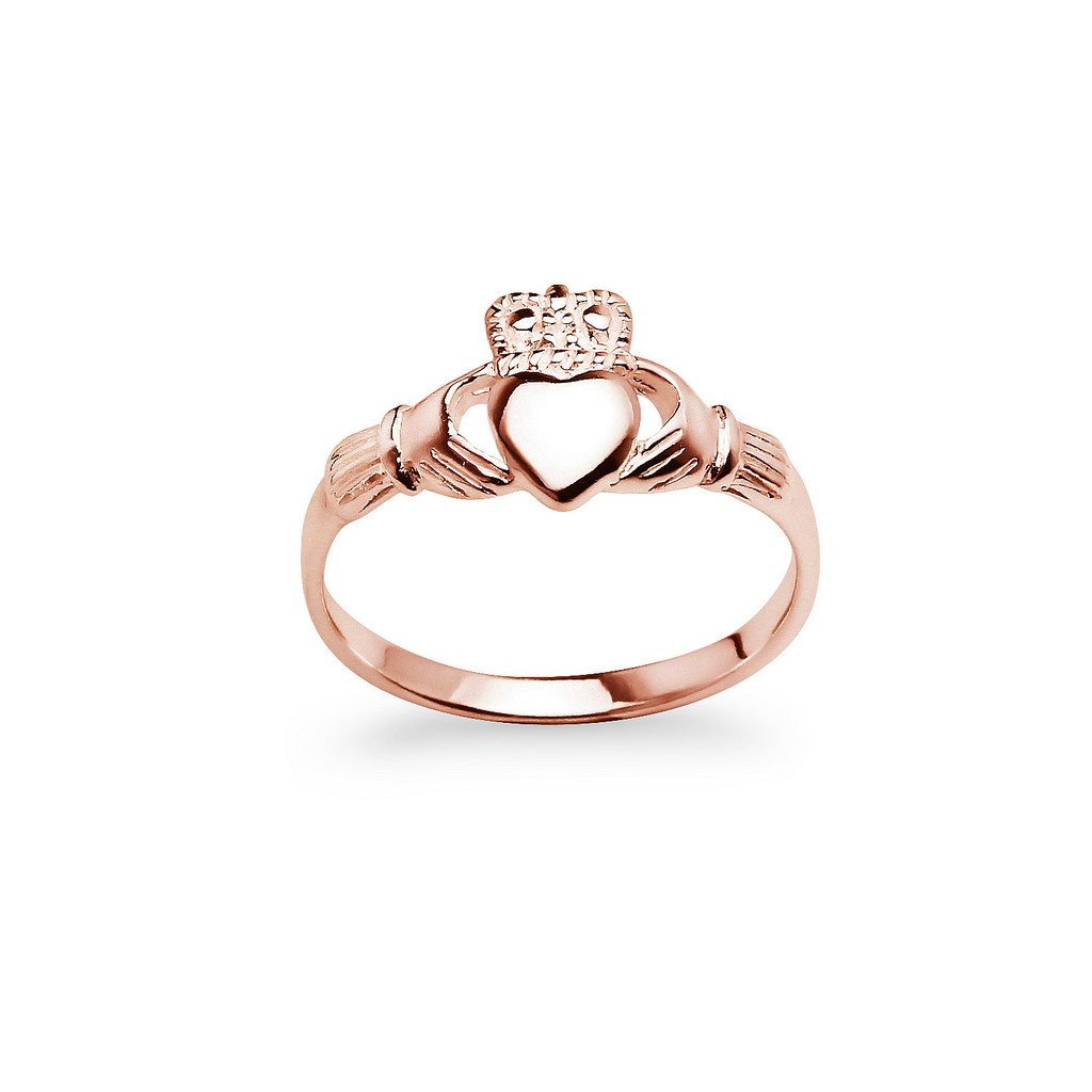 Rose Gold Flash Sterling Silver Claddagh Crown Love Heart Band Ring, Irish Friendship Promise Ring Size 7 by Nine2Five (Image #2)