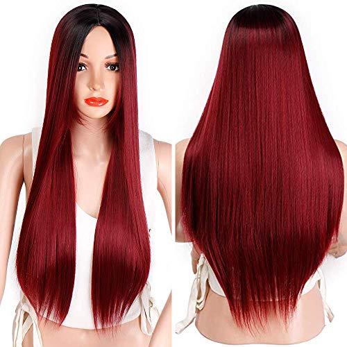 Peluca de pelo largo y liso Wigssale Ombre sintético, dos tonos, fibra resistente al calor, pelucas de pelo natural para mujer: Amazon.es: Belleza