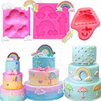 Set of 3 JeVenis Rainbow Cake Decorations Rainbow Cake Mold Umbrella Cake Decoration for Rainbow Unicorn Baby Shower Cake Decoration Birthday Party Supplies