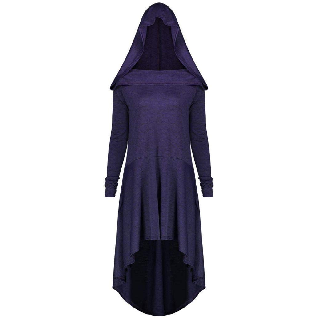 Faionny Women Halloween Witch Dress Plus Size Jumpdress Lace Up Hooded Blouse Solid Long Sleeve Tops Purple by Faionny