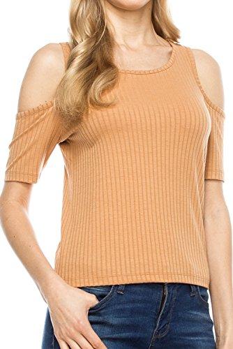 KLKD Women's Solid Cold-Shoulder Ribbed Top Apricot Large