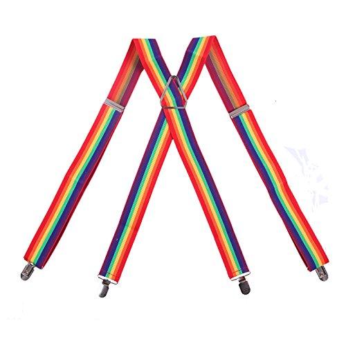HDE Men's X-Back Clip Suspenders Adjustable Elastic Shoulder Strap - 1.5