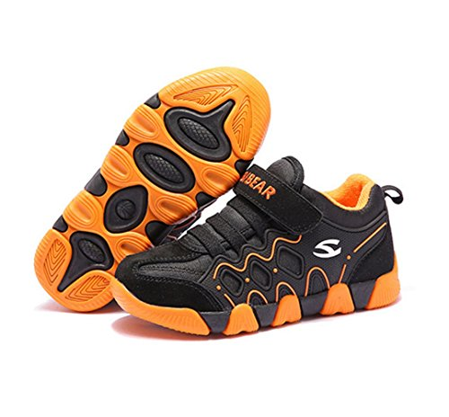 Hoxekle Winter Boys Girls Plus Velvet Tennis Shoes Velcro Anti-slip Rubber Kids Warm Casual Sport Sneakers Black Orange