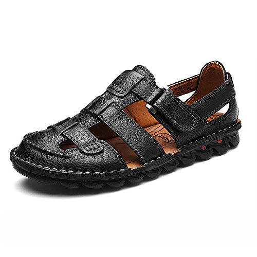 ZHShiny Men Summer Sports Sandals Leather Outdoor Trail Beach Shoes Casual Size 11 12 13 Black