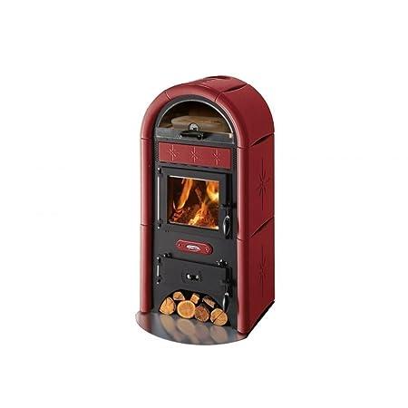 Stufa a legna Cadel Sole Maiolica rosso 10,5 KW: Amazon.it ...