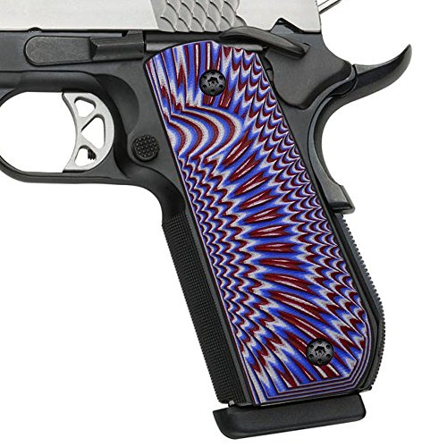 Cool Hand 1911 Full Size G10 Grips, Bobtail Round Butt Cut, Mag Release, Ambi Safety Cut, Sunburst Texture, Brand (Patriot White/Red/Blue)