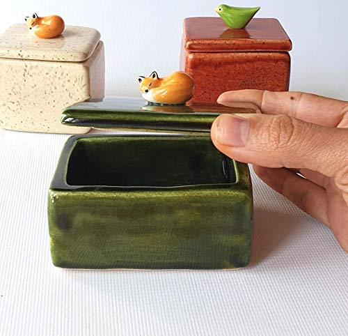 - Handmade Ceramic Green Box with Sleeping Fox