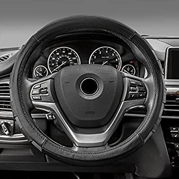 Genuine Leather Sport Black FH Group FH2005BLACK Steering Wheel Cover