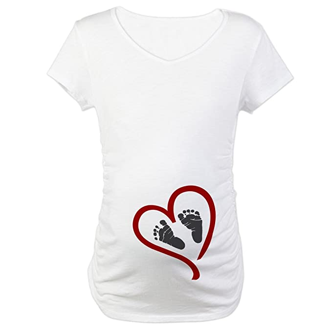 34c989ad CafePress Baby Heart Feet Red Maternity T-Shirt Cotton Maternity T-shirt,  Cute