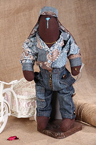 Fabric Soft Toy With Stand Rabbit In Denim Costume