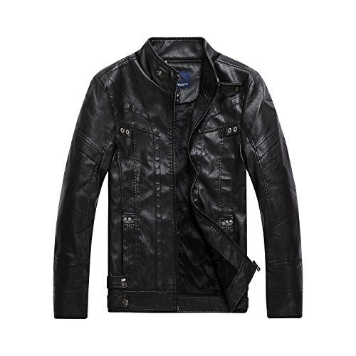 Men's Vintage Stand Collar Faux Leather Jacket Black US M