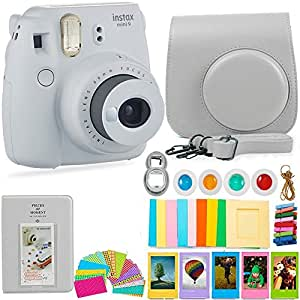 FujiFilm Instax Mini 9 Camera and Accessories Bundle - Instant Camera, Carrying Case, Color Filters, Photo Album, Stickers, Selfie Lens + MORE (Smokey White)