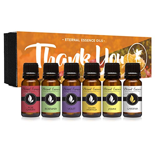 - Thank You Gift Set of 6 Premium Grade Fragrance Oils - Rose Garden, Violet, Golden Hydrangea, Sunflower, Gardenia, Jasmine - 10Ml - Scented Oils