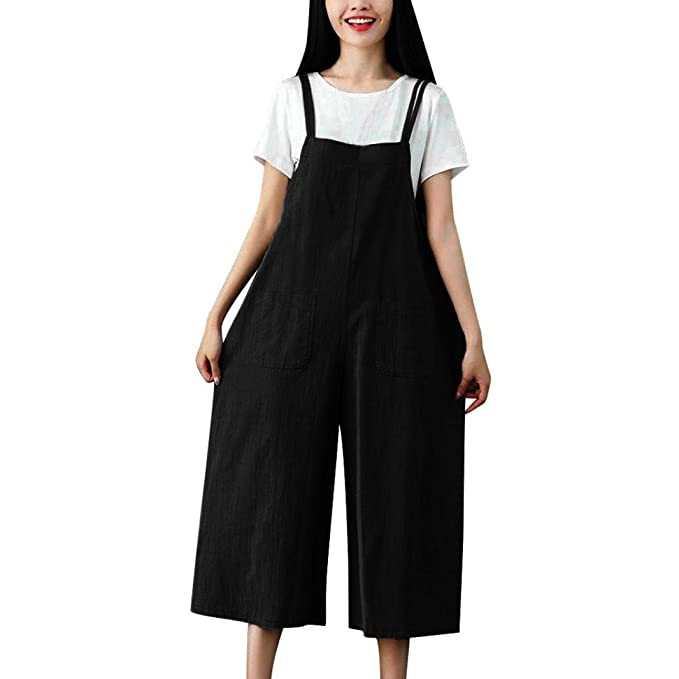 Elogoog Clearance Women Loose Overalls Cotton Linen Long Suspender Jumpsuit Bib Baggy Romper Pants Plus Size by Elogoog Clearance