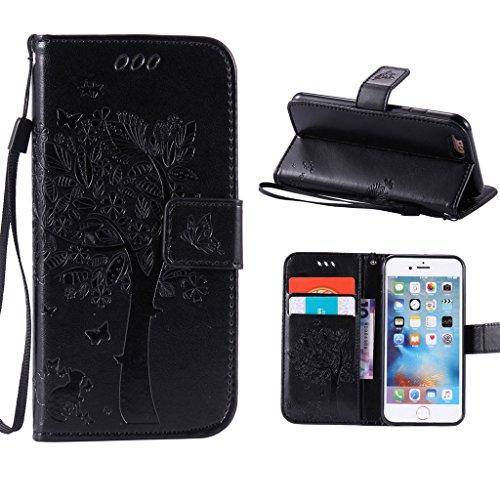 """iPhone 6 / 6S Schutzhülle , LH® (Schwarz Kontext) Schmetterling Baum Flip PU Ledertasche Ständer Schale Tasche Hülle Case Cover mit Kreditkartensteckplätze für Apple iPhone 6 / 6S 4.7"""""""