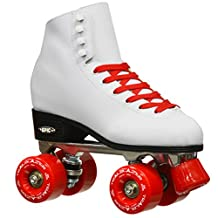 Epic Skates 2016 Epic Classic 7 High-Top Quad Roller Skates with Red Wheels, White