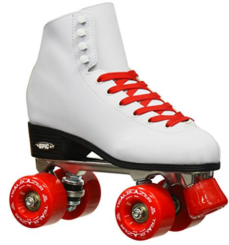 Epic Skates 2016 Epic Classic 5 High-Top Quad Roller Skates with Red Wheels, White