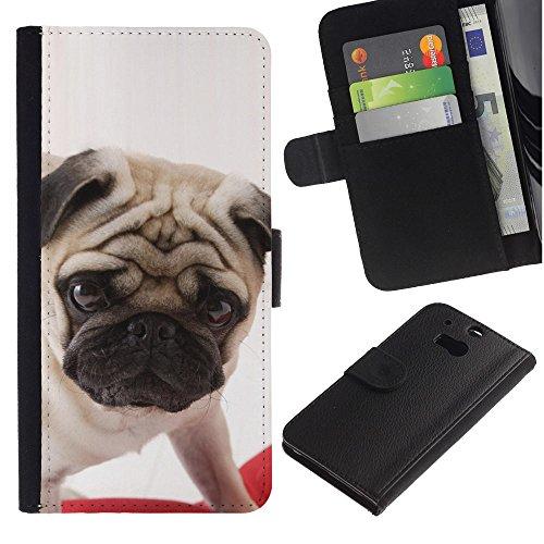EuroCase - HTC One M8 - pug British puppy dog breed canine - Cuero PU Delgado caso cubierta Shell Armor Funda Case Cover