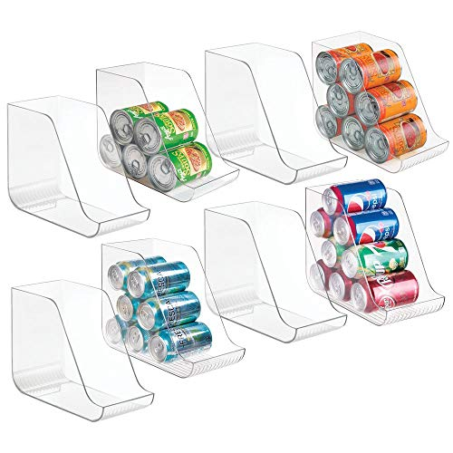 mDesign Large Plastic Standing Pop/Soda Can Dispenser Storage Organizer Bin for Kitchen Pantry, Countertops, Cabinets, Refrigerator – Compact Vertical Holder – 8 Pack – Clear