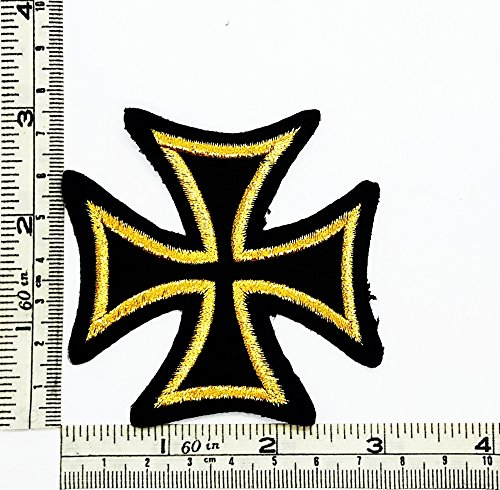 Yellow Black Maltese Cross Fire Choppers Celtic Rider Biker Motorcycle Patch Embroidered Iron on Hat Jacket Hoodie Backpack Ideal for (Maltese Cross Patches)