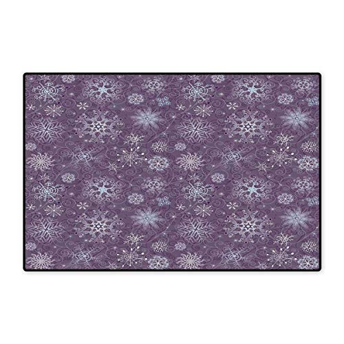 Eggplant Door Mat Small Rug Christmas Inspired Cute Flowers Snowflakes and Swirls in a Violet Delicate Environment Bath Mat for Bathroom Mat 16