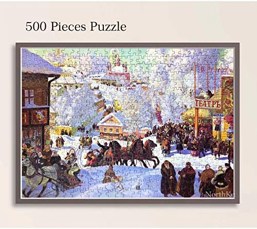"NorthKe 500 Pieces Jigsaw Puzzle for Adults, for Kids Age 8+ Years Puzzle Games, European Winter Style 20"" x 14.2"""