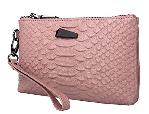Organizer Pink Purse Womens Heshe Bag Ladies Wrist Bag Clutch Leather Crocodile vnRppqwXB