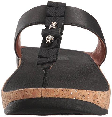 Fitflop Abierta Mujer Para Con black Sandals 1 Punta Ruffle thong Negro Toe Sandalias rgrTq0