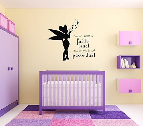 Tinkerbell Wall Vinyl Sticker Fairy Tale Little Peter Pan in London Big Ben Moon Cartoon Character Girl Boy Nursery Kids Room Poster Art Tinker Bell SA1475 ()