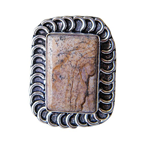 Picture Jasper Ring Silver Plated Ring Handmade Designer Ring Jewelry, Adjustable Ring (Ring Size 8.5 USA) AH-5741