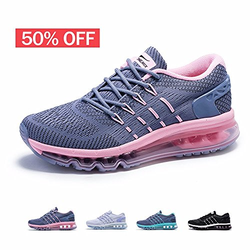 ONEMIX Womens Air Running Shoes,Sloping Tongue Sneakers,Grey/Pink,Size 8.5 Air Pink Shoes