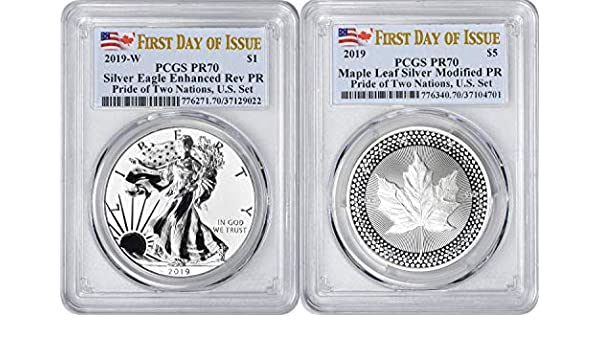 2019 W $1 ENHANCED REVERSE PROOF PCGS PR70 FDI SILVER EAGLE PRIDE OF TWO NATIONS