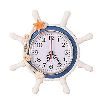 junlong-creative relojes mediterráneo reloj de pared de madera Fashion Retro reloj de pared.: Amazon.es: Hogar