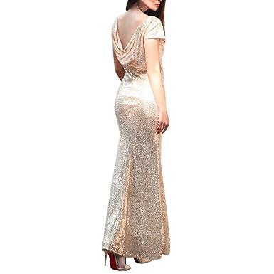 a422337d4a5df4 Felicove Damen Kleid, Ballkleid Sexy Sexy Dünnes Rückenfreies Langes Kleid  Damen Partykleid Faltenrock Langes Kleid