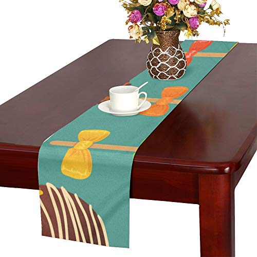 WUwuWU Round Lollipop Sweet Snack Color Table Runner, Kitchen Dining Table Runner 16 X 72 Inch for Dinner Parties, Events, Decor ()