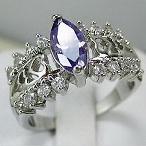 [jacob alex ring Purple CZ Ring Size6 Marquis Women's 10Kt White Gold Filled Engagement Free] (14k Marquis)