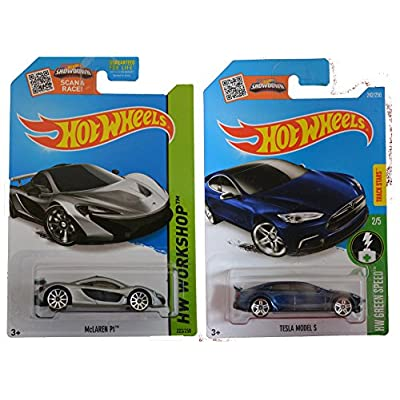 Hot Wheels 2016 Tesla Model S & 2014 McLaren P1 (Silver) 2-Car Bundle Set: Toys & Games