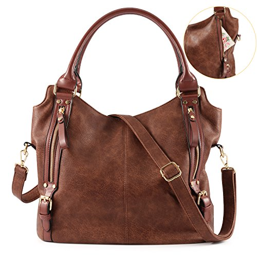 Coffee Hobo Faux Tote Leather Large Purse Handbag Plambag Women xgOq1UwRnT