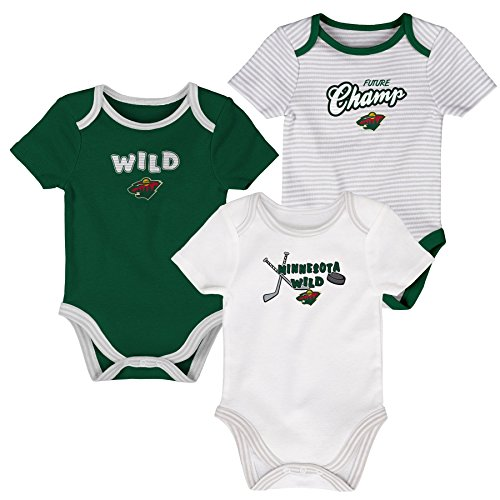 Outerstuff NHL Minnesota Wild Layette Newborn 3Rd Period Onesie Set (3 Piece), 0-3 Months, Dragon Green