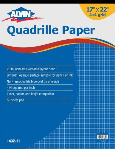 Alvin Quadrille Paper Grid Pad, Size 17 x 22 Inches (1432-11) ()